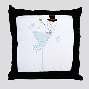 Snowman Martini Throw Pillow