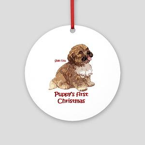 Puppys first Christmas shih tzu ornament