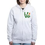 Green Irish Love Women's Zip Hoodie