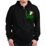 Green Irish Love Zip Hoodie (dark)