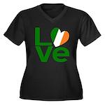 Green Irish Love Women's Plus Size V-Neck Dark T-S
