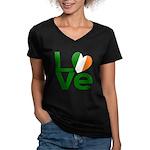 Green Irish Love Women's V-Neck Dark T-Shirt