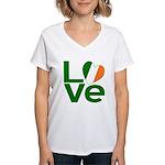Green Irish Love Women's V-Neck T-Shirt