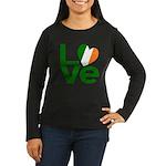Green Irish Love Women's Long Sleeve Dark T-Shirt