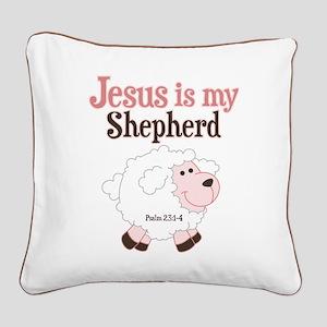 Jesus Is Shepherd Square Canvas Pillow
