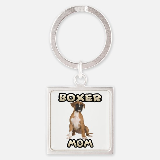 Boxer Mom Square Keychain