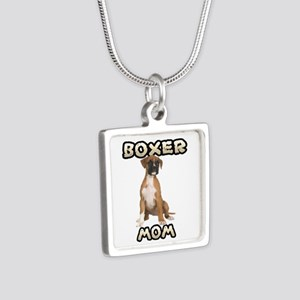 Boxer Mom Silver Square Necklace