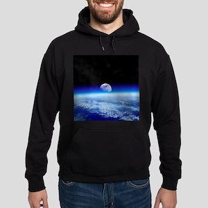 Moon rising over Earth's horizon - Hoodie (dark)