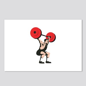 Weightlifter Lifting Weights Retro Postcards (Pack