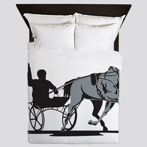 Horse and Jockey Harness Racing Queen Duvet