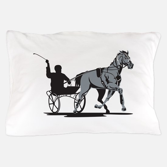 Horse and Jockey Harness Racing Pillow Case