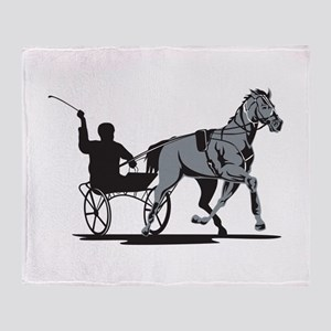 Horse and Jockey Harness Racing Throw Blanket