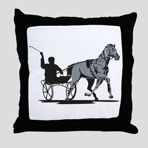Horse and Jockey Harness Racing Throw Pillow