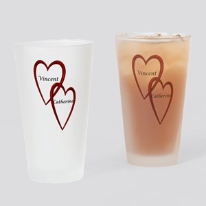 Vincent and Catherine Two Hearts Drinking Glass