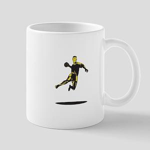 Handball Player Jumping Retro Mug