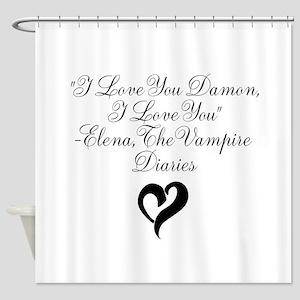 Elena Loves Damon, Black Shower Curtain