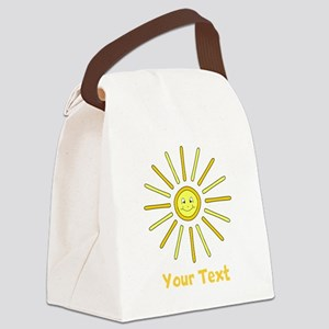Happy Summer Sun and Text. Canvas Lunch Bag