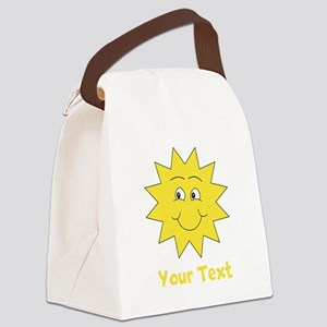 Yellow Happy Sunshine. Text. Canvas Lunch Bag