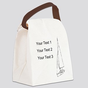 Sail Boat and Custom Text. Canvas Lunch Bag