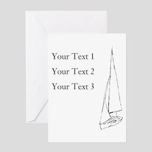 Sail Boat and Custom Text. Greeting Card