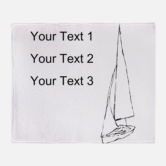 Sail Boat and Custom Text. Throw Blanket