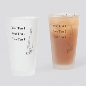 Sail Boat and Custom Text. Drinking Glass