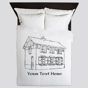 Old House. Custom Text. Queen Duvet