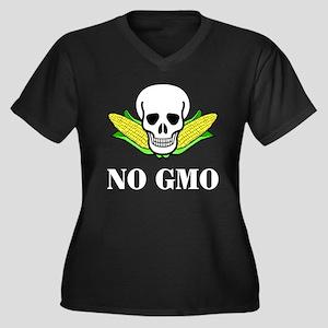 NO GMO Women's Plus Size V-Neck Dark T-Shirt