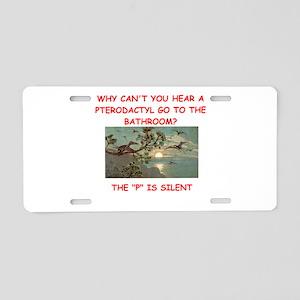 dinosaur joke Aluminum License Plate