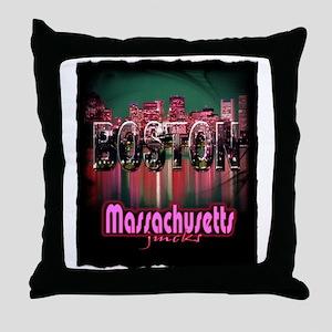 boston massachusetts art illustration Throw Pillow