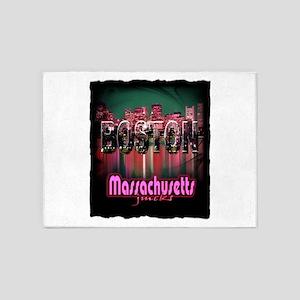 boston massachusetts art illustration 5'x7'Area Ru