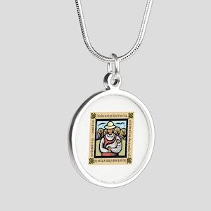 Vegetarian da Vinci Quote Silver Round Necklace