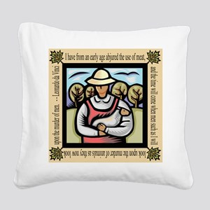 Vegetarian da Vinci Quote Square Canvas Pillow
