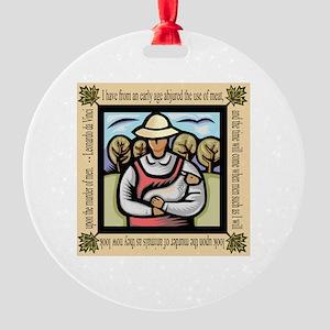 Vegetarian da Vinci Quote Round Ornament