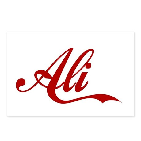 ali name postcards package of 8 by desinames