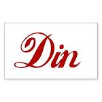Din name Sticker (Rectangle 50 pk)