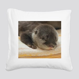 Sleeping Otter Square Canvas Pillow