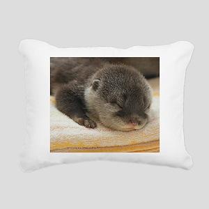Sleeping Otter Rectangular Canvas Pillow