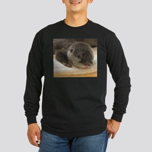 Sleeping Otter Long Sleeve Dark T-Shirt