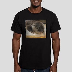 Sleeping Otter Men's Fitted T-Shirt (dark)