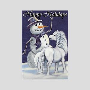 Snowman & Pony HH Rectangle Magnet