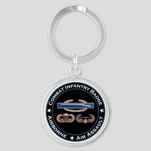 CIB Airborne Air Assault Round Keychain