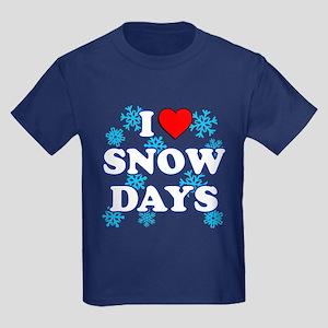 I Love Snow Days Kids Dark T-Shirt