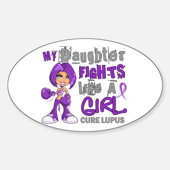 Fights Like a Girl 42.9 Lupus Sticker (Oval)