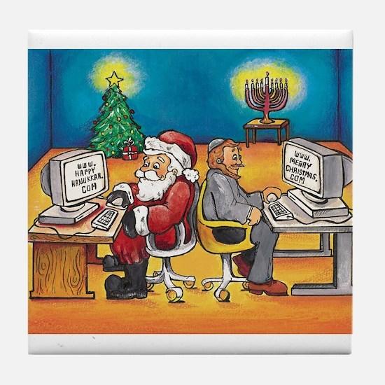 Cute Christmas and hanukkah Tile Coaster
