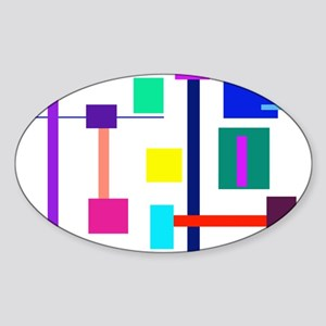 Colorful Squares Sticker (Oval)