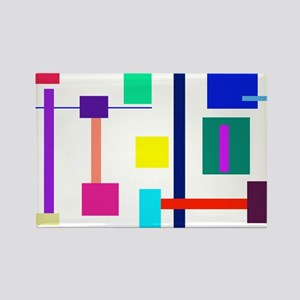 Colorful Squares Rectangle Magnet