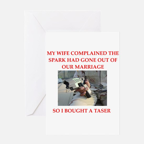 love and tasers Greeting Card