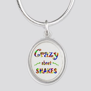 Crazy About Snakes Silver Oval Necklace