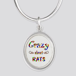 Crazy About Rats Silver Oval Necklace